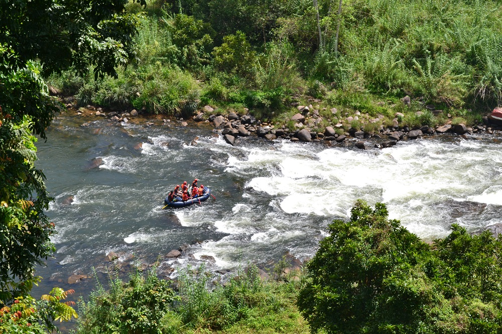 Rafting boat on a river