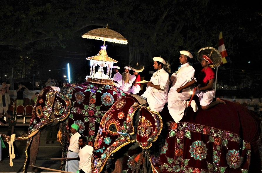 Men and elephants parading the streets in religious costume