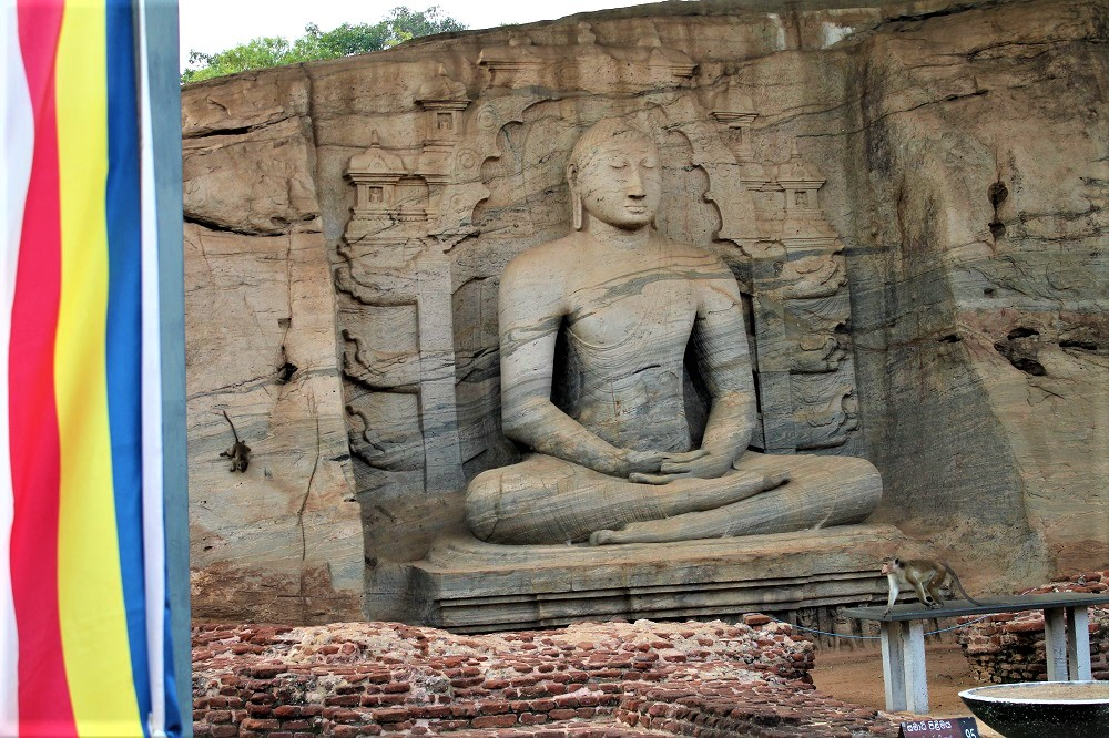 Statue of the Buddha in the lotus position engraved in stone surrounded by a Buddhist flag and a monkey