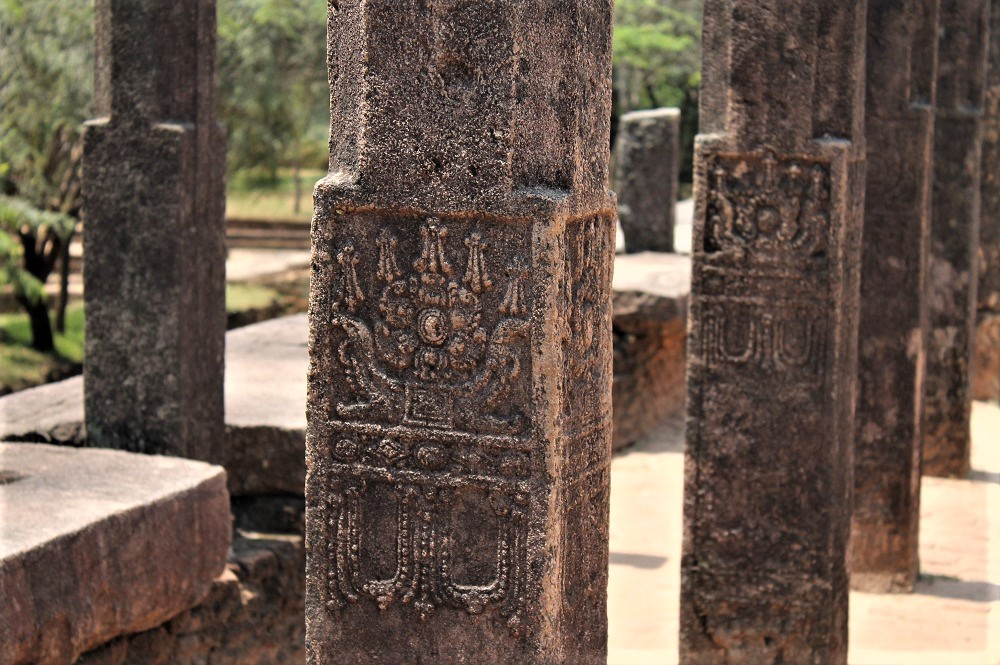 Series of engraved stone columns