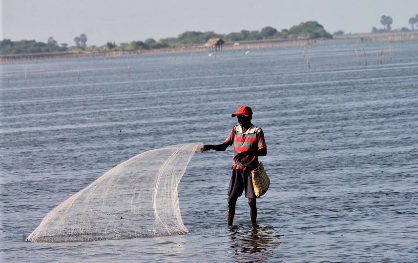 Man throwing fishing net into water